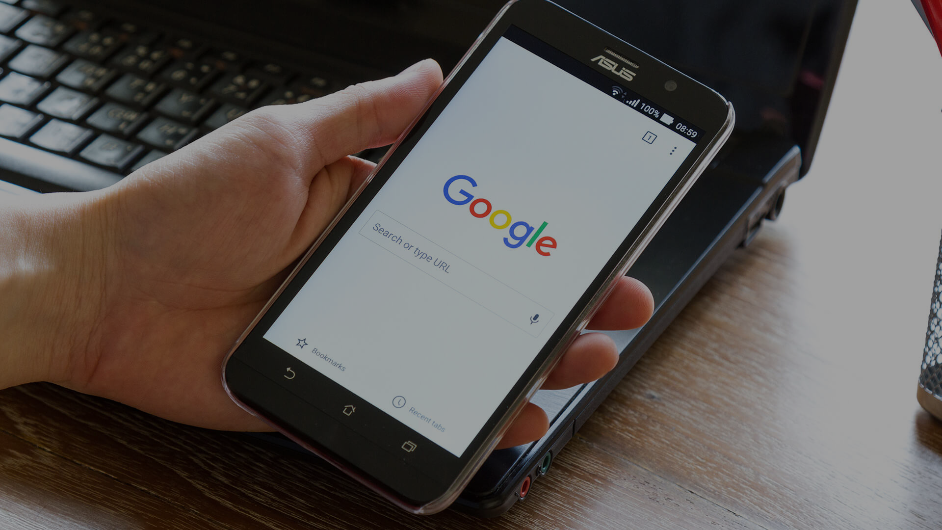 mobile pone holding google search